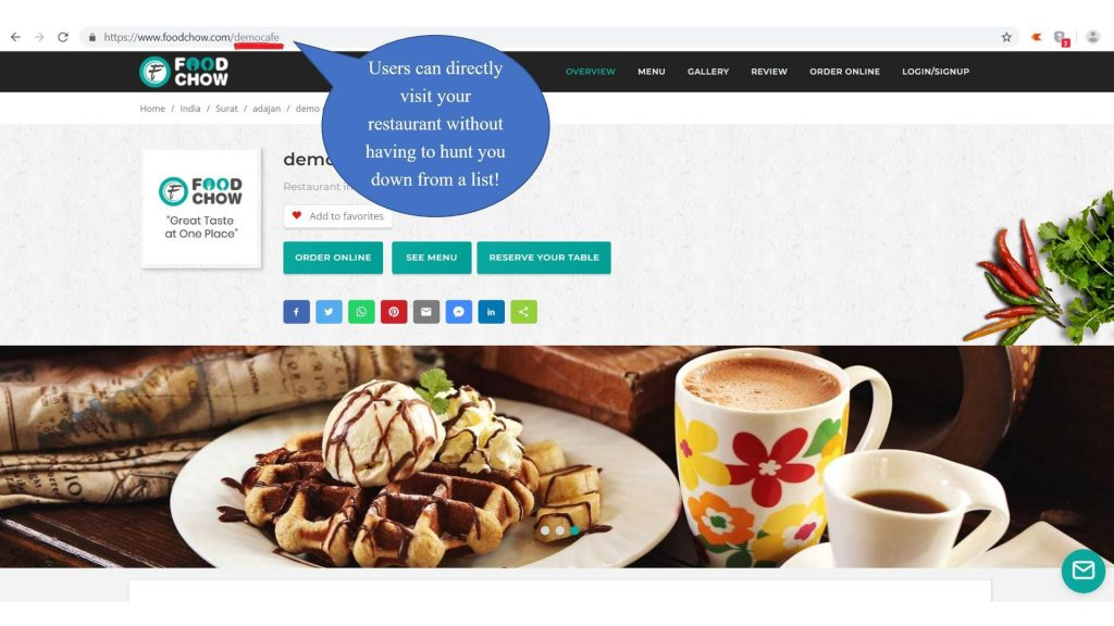 foodchow restaurant website & URL